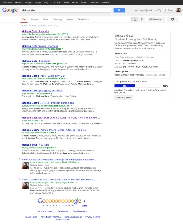 image of links using my name as search in Google