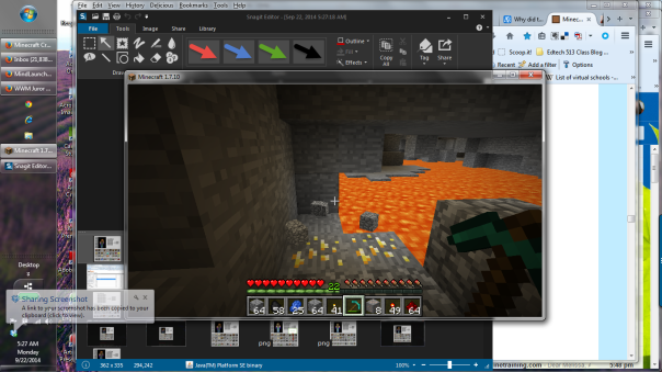 Lava and gold, I put in cobblestone reinforcements.